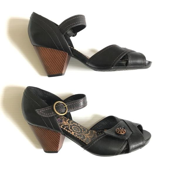 Poshmark Peep Indigo Wood Clarks Toe Strap Block Shoes Ankle Heel zZ4I7